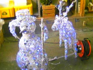 LEDスノーマンとトナカイ