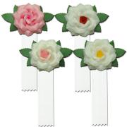 紙バラ徽章・白房付・花色4種